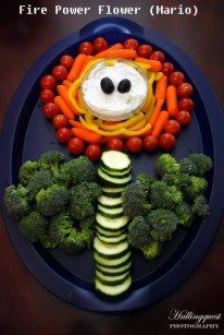 Fire Power Flower from Mario Video Game Party Veggie Platter | by Parties with Charm   www.facebook.com/PartieswithCharm