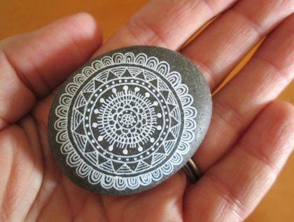 Hand illustrated beach stone