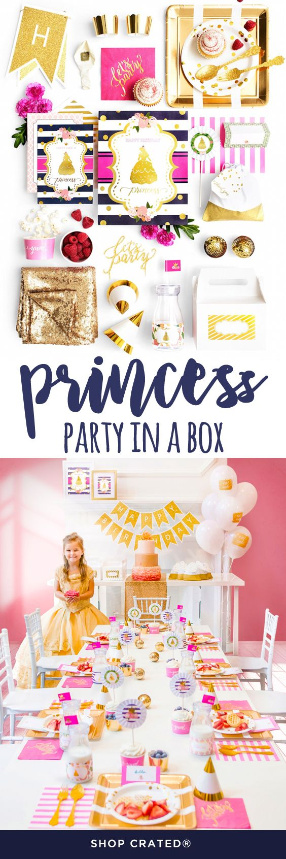 All the princess party supplies and princess birthday party ideas you need. This princess birthday party in a box has it all... just add cake and kids!