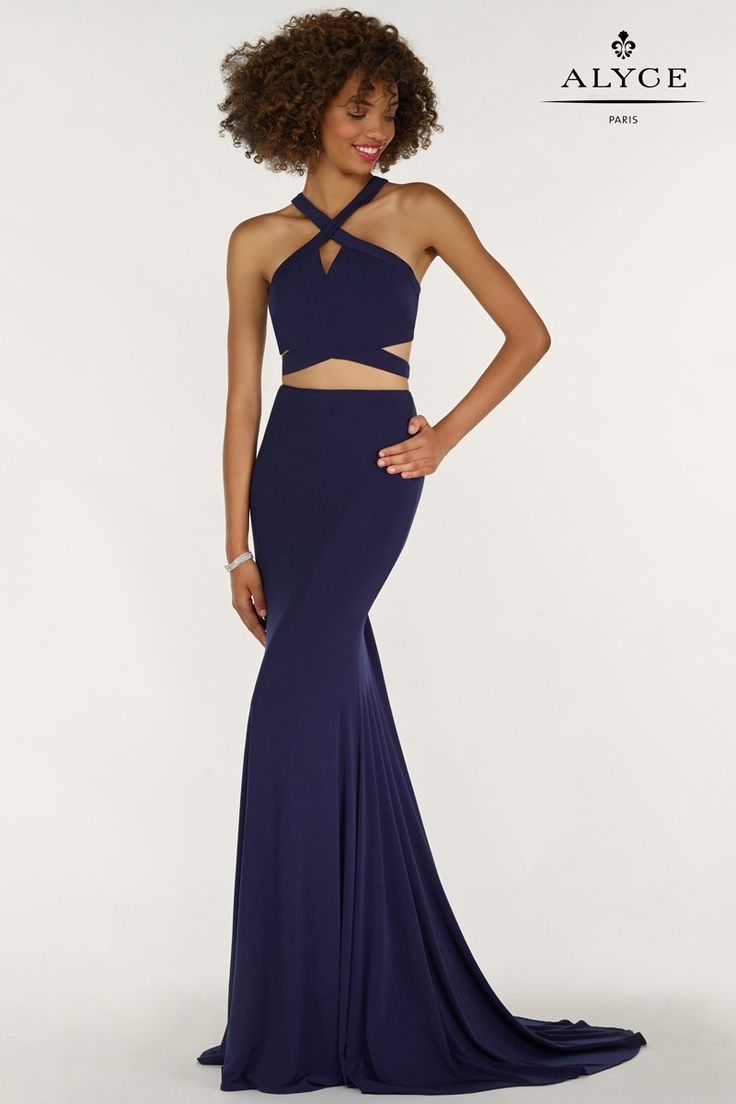 Dress style  #1209 | Navy Blue Crop-Top Two-Piece Halter Cut Outs Prom Dress