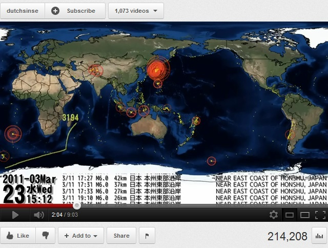 YouTube video timeline plotting all of the significant earthquakes from 2011 chronologically. Link here: http://www.youtube.com/watch?v=2a--NC4Nong_source=message