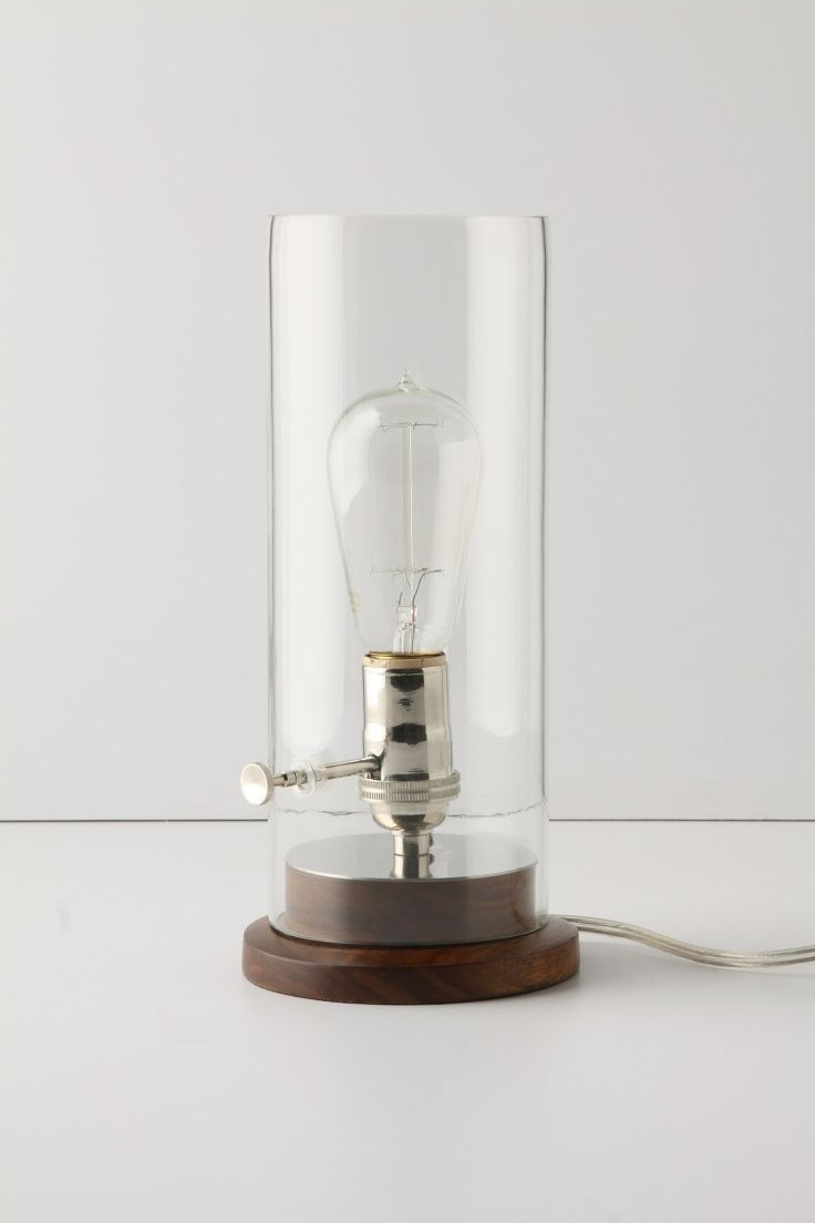 Cool Table Lamp With Industrial Eclectic Look, Vintage Wood Base, Open Exposed  Bulb In A Glass Cylinder Lamp, Lighting Ideas For The House