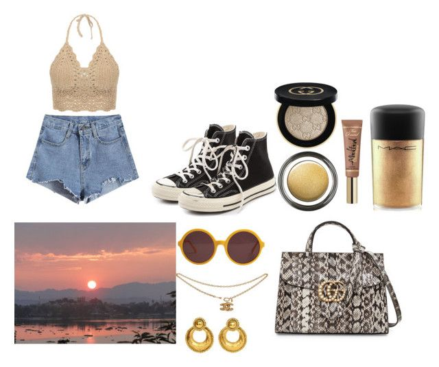 """""""wokeuplikethis*"""" by mssbth on Polyvore featuring mode, Converse, Chanel, Gucci, Giorgio Armani et MAC Cosmetics"""