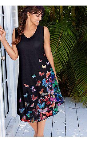 69918810 - Kleid mit Schmetterlingen, Rücken mit gekreuzten Trägern