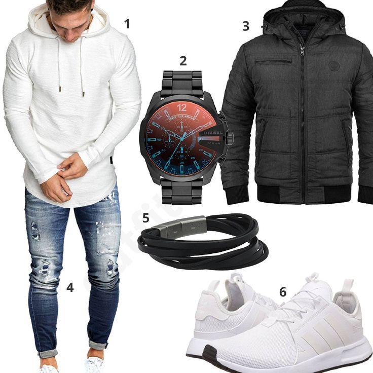 Lässiger Herrenstyle mit weißem Hoodie und Adidas Schuhen (m0730) #hoodie #jeans #adidas #diesel #fossil #blend #outfit #style #herrenmode #männermode #fashion #menswear #herren #männer #mode #menstyle #mensfashion #menswear #inspiration #cloth #ootd #herrenoutfit #männeroutfit