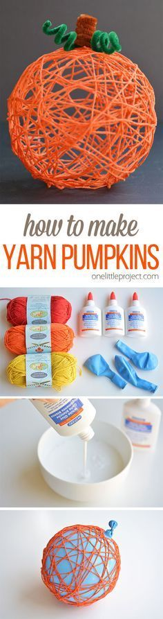 These yarn pumpkins are such a fun fall craft idea! They'd make a BEAUTIFUL centerpiece or mantle decoration, or you could even use them for Halloween! So pretty