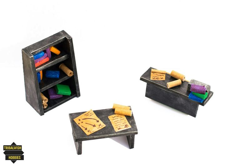 28mm miniature scale Metallic Furniture with charts, scrolls and books. Made by Tribalwish Hobbies.