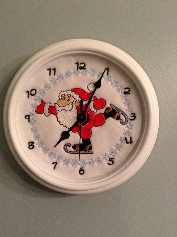Skating Santa Embroidered Clock by CatskillNation on Etsy, $20.00