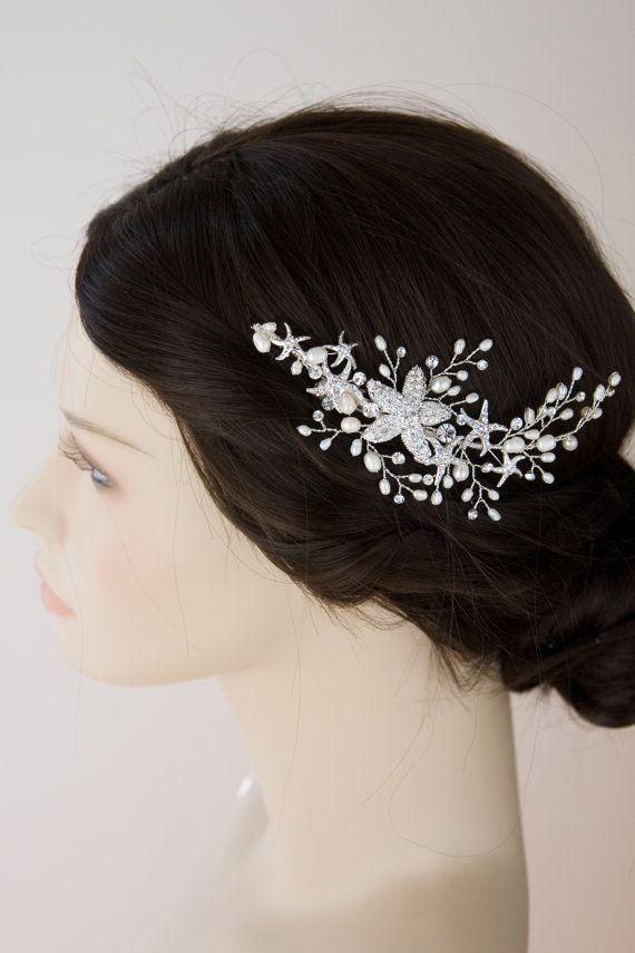 Beach Wedding Starfish Hair Clip with Ivory Freshwater Pearls Silver Bridal Hair Piece Bride