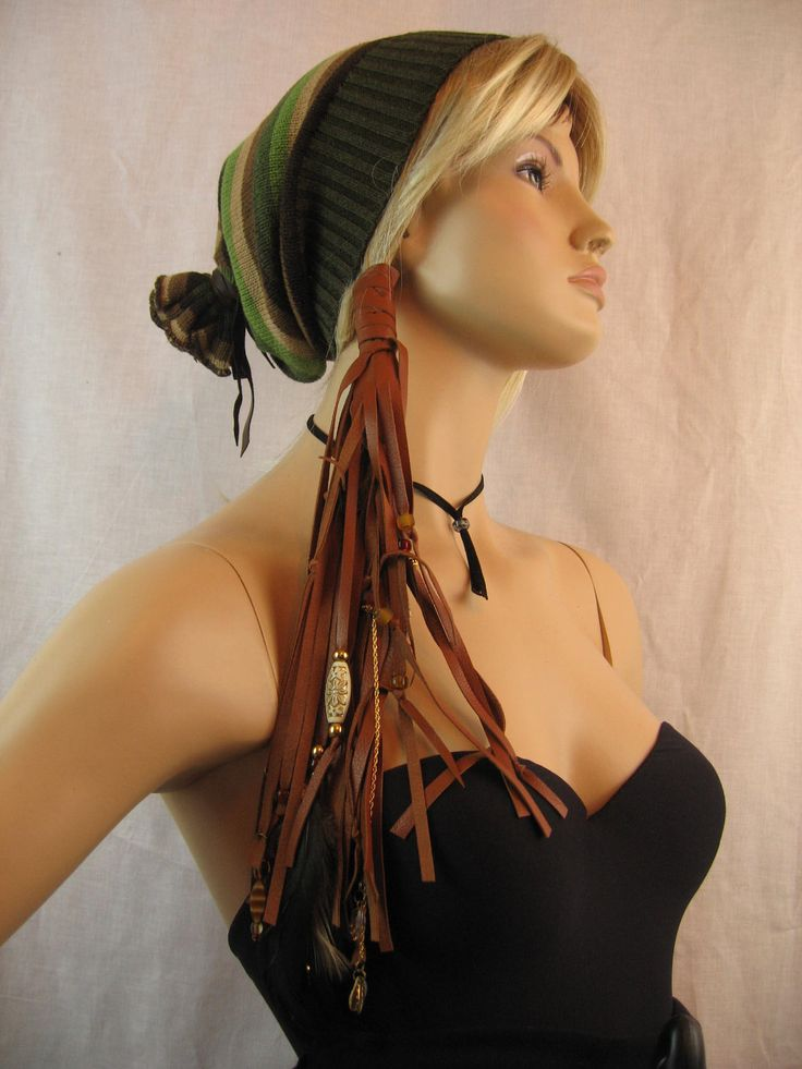 ponytail extensions   Leather Hair Extension, Ponytail holder Headband Hair Jewelry Beaded ...