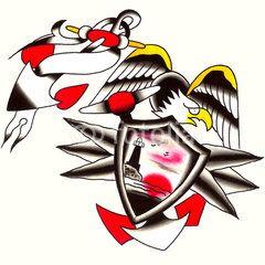 Illustrazione: Ancora con stemma e aquila Illustrazione Tatuaggio in stile old school