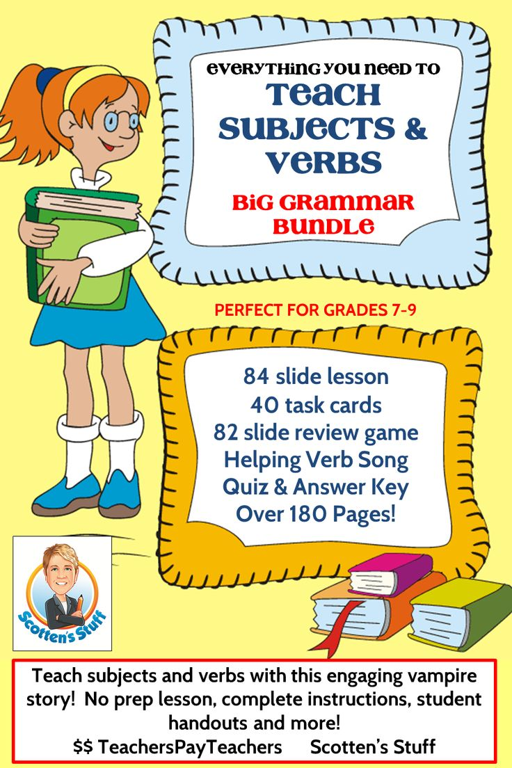 Learn subjects and verbs the easy way!  Grammar is fun with this spooky story that guides students in finding subjects and verbs in sentences.  Over 185 pages of lessons, student practice, task cards and more.  Companion to Lesson 1: Teaching Prepositions. https://www.teacherspayteachers.com/Product/Grammar-Lesson-1-Teaching-Prepositions-Bundle-1570918