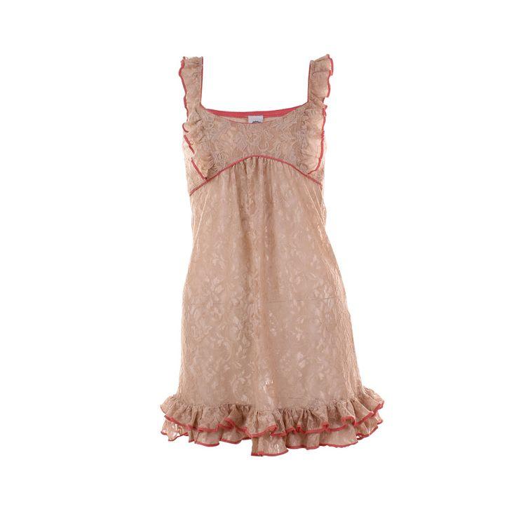 Camisa de Dormir Catalina Beige, María Solita, $12.000.