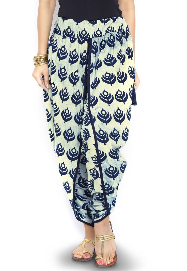 Dabu printed Cotton Dhoti Pant in Cream: BTS23