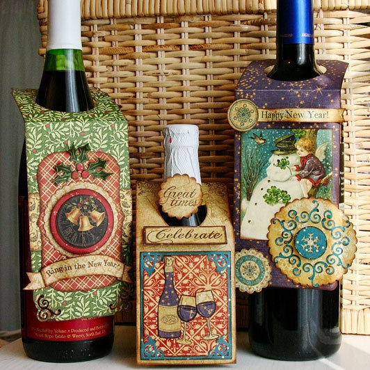 Wine bottle tags - good way to use/recycle Christmas cards