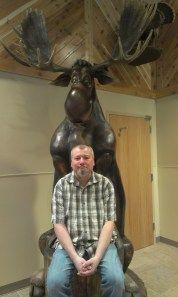 Dwarfed by a moose!