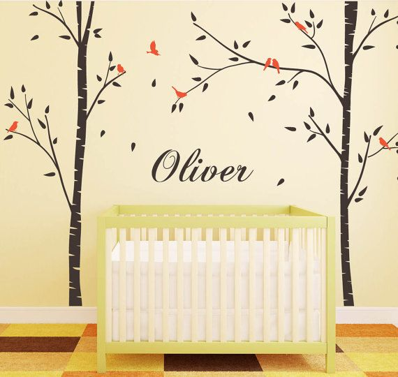 Birch Trees For Nursery Room With Birds Custom Name Wall Stickers For Kids  Room Sticker Decals Part 90