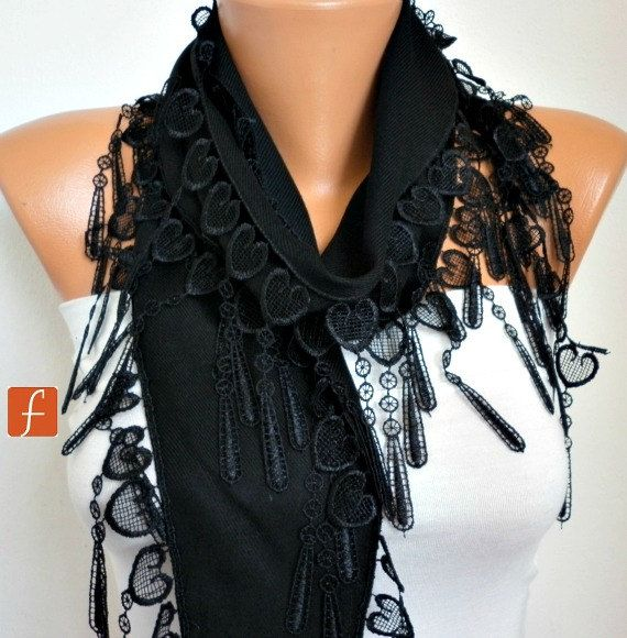 Black Heart Pashmina Scarf,Valentine's Gift,Bridal Accessories,Teacher Gift, Cowl Bridesmaid Gift LOVE Gift Ideas Women Fashion Accessories http://etsy.me/2CSJ1w2 #accessories #scarf #black #birthday #valentinesday #fatwomanscarf #shawl