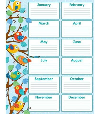 Boho Birds Birthday Chart