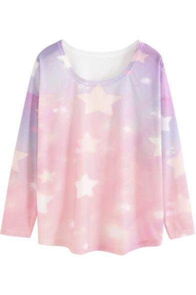 Round Neck Long Sleeve Star Print Pink Tee