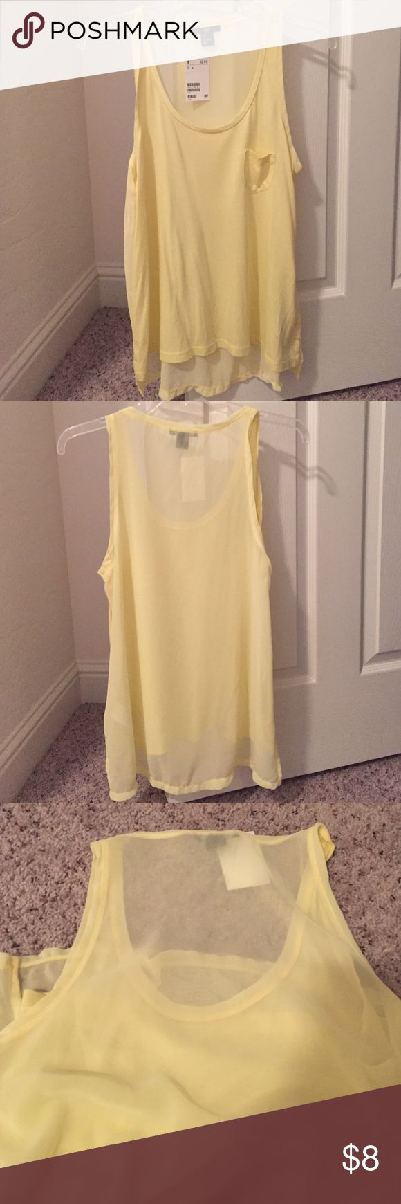 Yellow Tank Top NWT Yellow H&M Tank Top. Small picket in front. Back is sheer and slightly longer than front. Two small slits on each side. H&M Tops Tank Tops