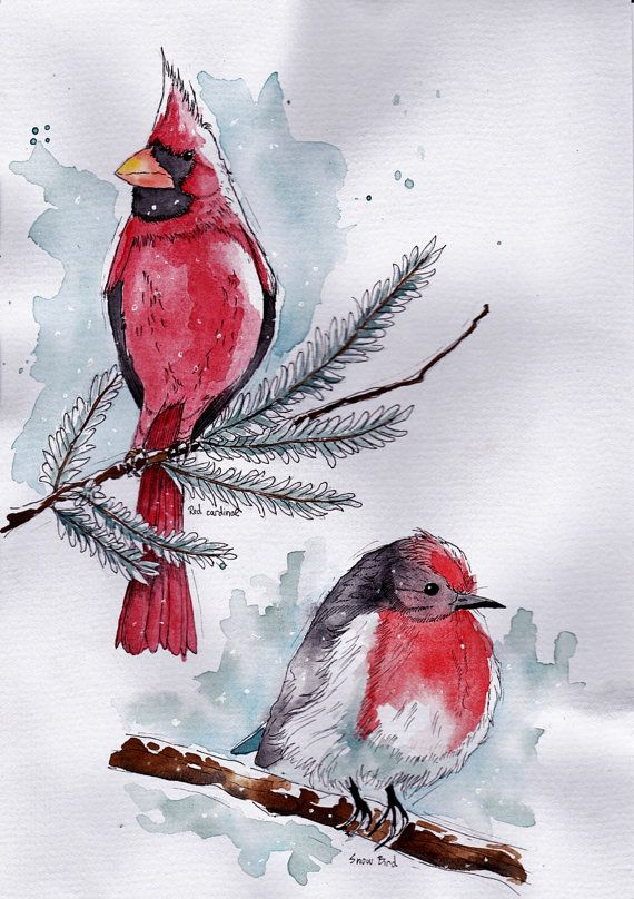 Original snow birds watercolor painting - Red Cardinal by BlendWorks on Etsy
