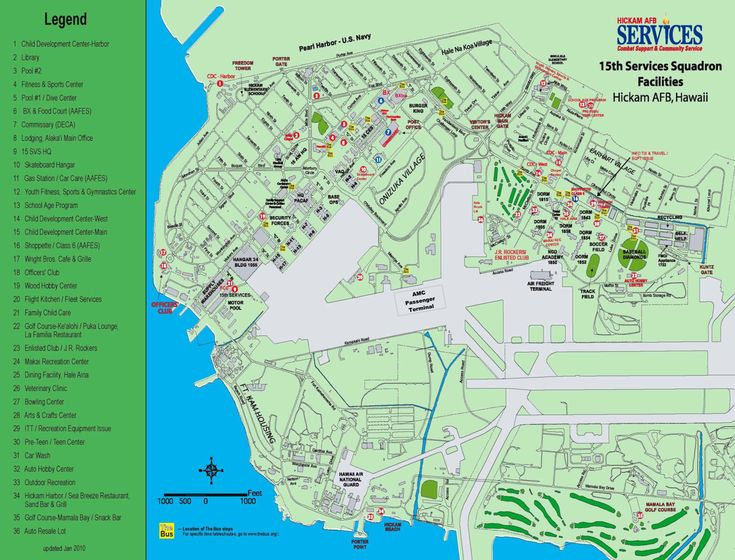 Hickam Air Force Base Hawaii Map | Joint Base Pearl Harbor ...