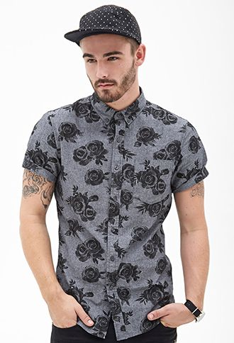I like the rose print and the black on grey color combination. if only this  were a womens shirt. Rose Print Button-Down