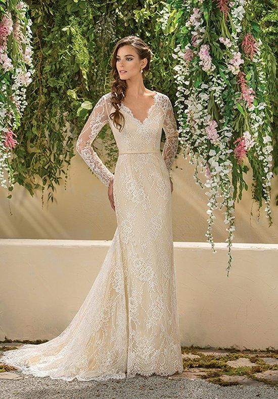 Lace A-line gown with V-neckline | Jasmine Collection | https://www.theknot.com/fashion/f181004-jasmine-collection-wedding-dress