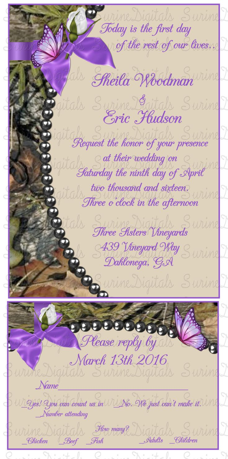 Mossy Oak Camo Wedding Invitation card with matching reply, Camo with Pearls and Butterflys wedding invite Suite by SurineDigitals on Etsy