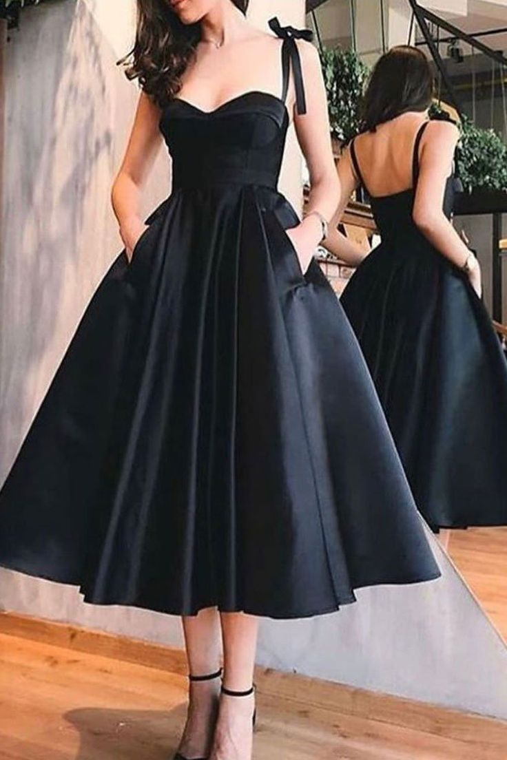 Vintage Inspired Tea Length Black 50s Prom Dress With Pockets 50s Style Bridesmaid Dres In 2021 Prom Dresses With Pockets Black Homecoming Dress Black Evening Dresses [ 1104 x 736 Pixel ]
