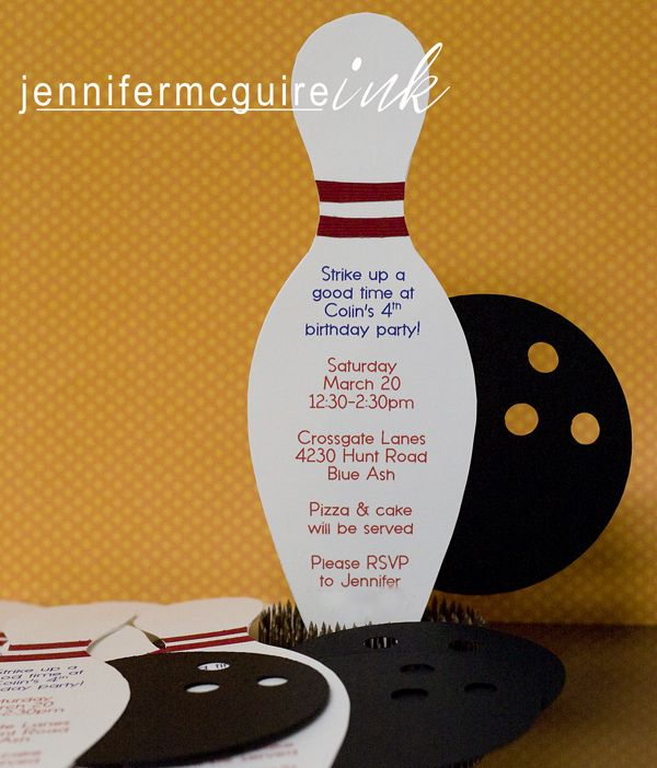 Bowling party invites using the silhouette. My next purchase has to be a silhouette!