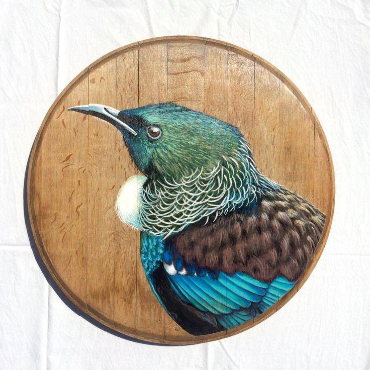 The Tui on recycled oak wine barrel lid. www.hannahstarnesart.co.nz