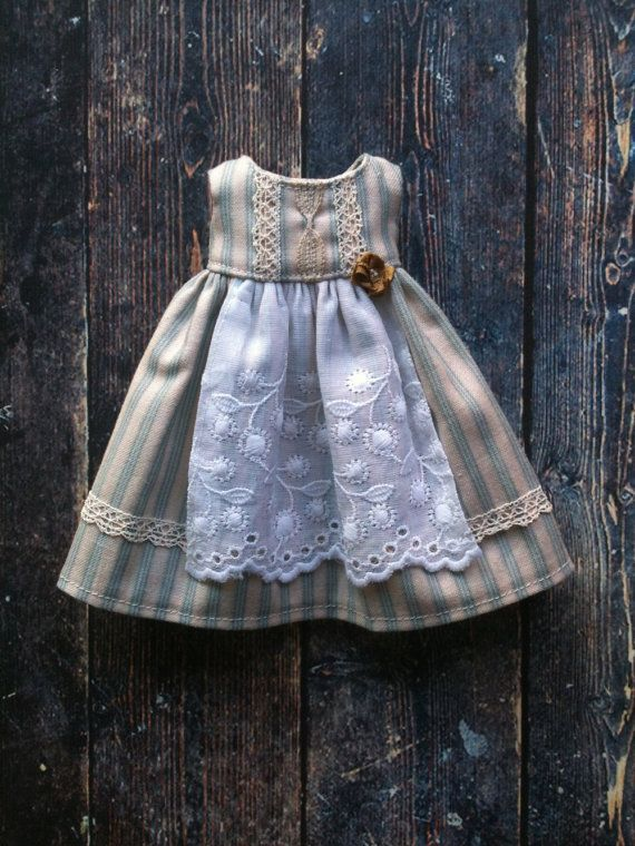 :: Crafty :: Doll :: Clothes :: Apron dress for Blythe - Duck egg stripe