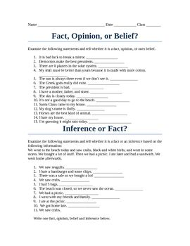 Fact, Opinion or Belief Worksheet // DBT
