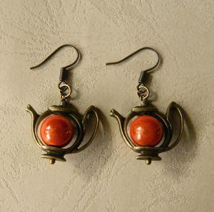 Image of ~Wonderland~ Bronze Teapot Earrings