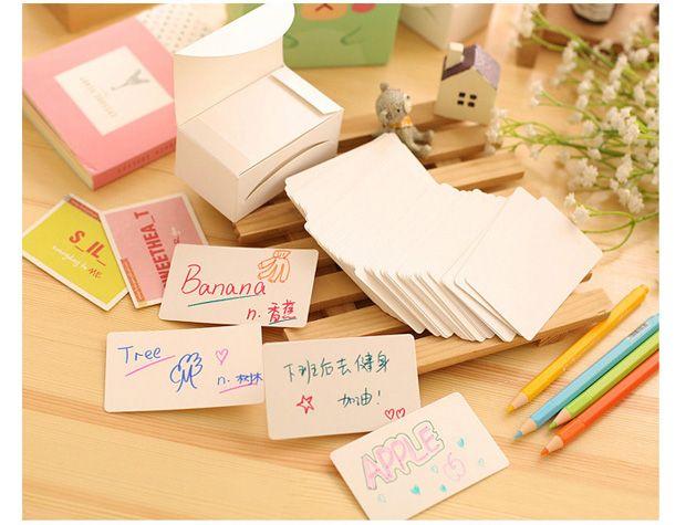 圆角空白单词卡片 diy涂鸦双面牛皮便签纸留言条学习单词拼音卡片-淘宝网