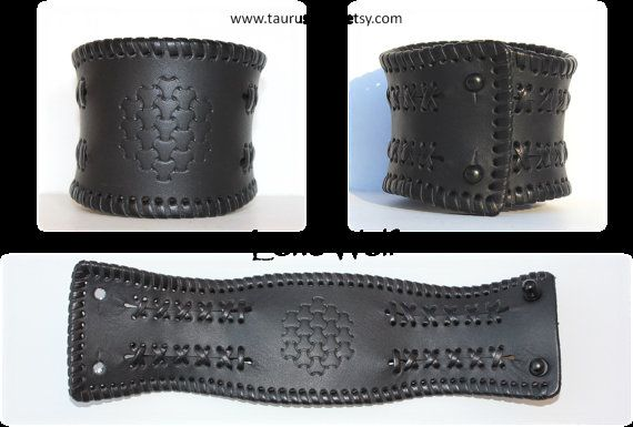 Black leather bracelet cuff mens wristband leather bikers