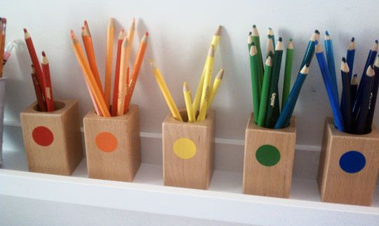 more Montessori style playroom- great for craft room tooArt Spaces, Montessori Homeschool, Montessori Colors, Crafts Room, Montessori Playrooms, Colors Pencil, Classroom Ideas, Art Supplies, Pencil Holders