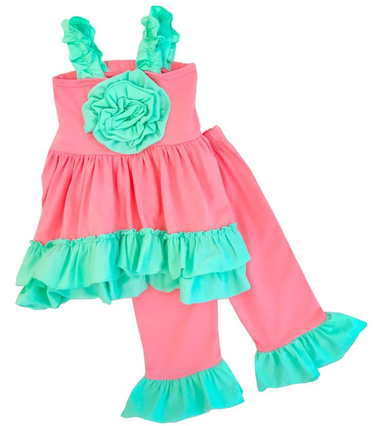 Girls Back To School The Serenity Capri Set Coral Mint Capri Set 6T/XL. 2 pc set coral mint ruffle capri set. This outfit is absolutely adorable and so on point with trends!. Soft capri bottoms and a matching strap tunic top with a rosette flower in the middle. This set is made out of soft cotton and spandex. So comfortable for everyday wear and super stylish. Perfect for the summer. 97% cotton & 3% spandex. Exclusive of decoration. Soft and high quality material. Comfy for all day wear…