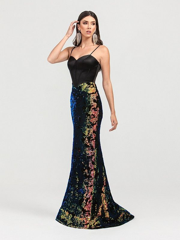 12060031b97 Iridescent Sequin and Velvet Prom Gown Style 3421RA in 2019