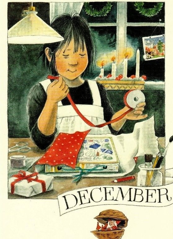 Décembre par Lena Anderson (1939) illustratrice suédoise. Son site : http://www.linneaimalarenstradgard.se/