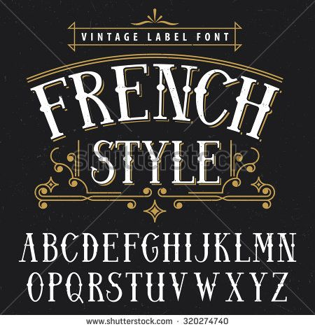 French style vintage label font. Vintage font, good to use in any vintage style labels of alcohol drinks - absinthe, whiskey, gin, rum, scotch, bourbon etc.