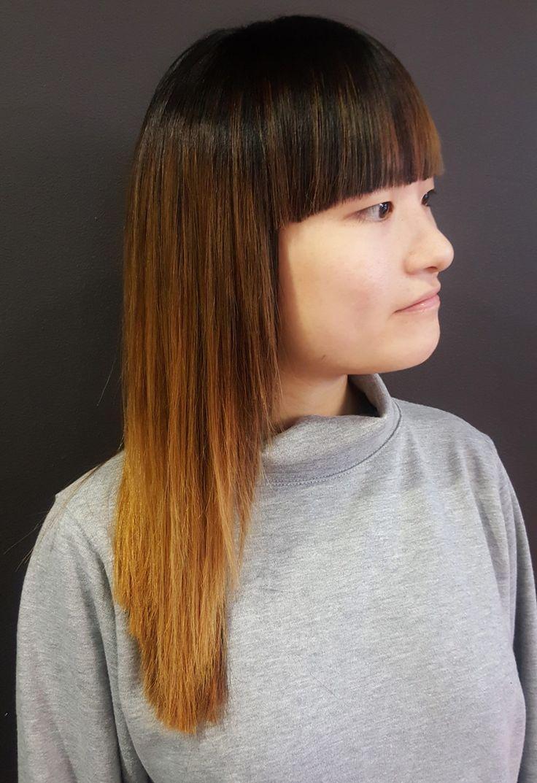 Ombre Hair o Degradado en tonos cobrizos. Trabajo realizado en La Poupée Barcelona.