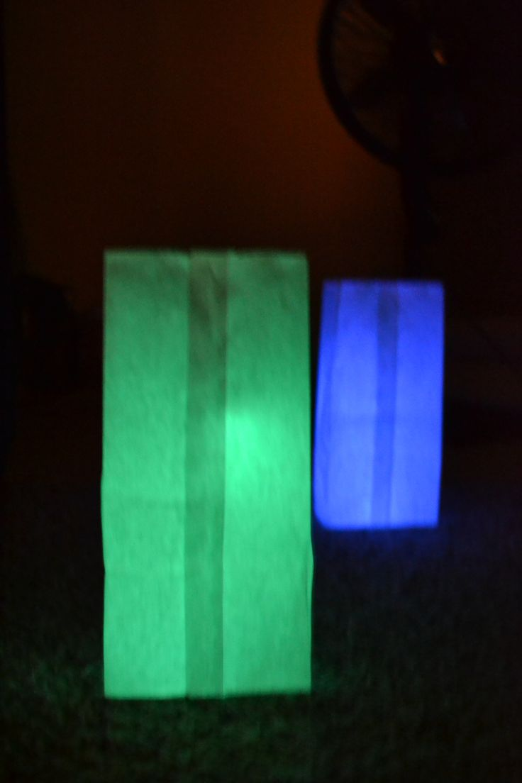 Glow Stick Luminary Needed items: - Glow Sticks (I used the bracelet size) - White Paper Sack (sack lunch size) - Clear Solo Cup - Rocks, Sand, etc. Use the rocks to give weight to the sack. Place the glow stick inside the cup then place inside the sack. Set out and enjoy your new luminary!