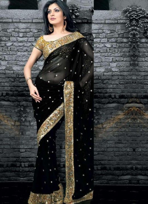 Indian Fashion | Latest Black Saree Blouse Designs