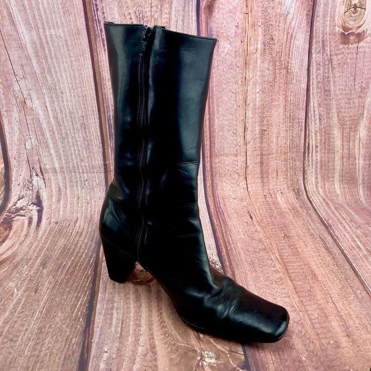 Womans Ladies Boots Black LK Bennett Zip Up block heel size 38.5 winter