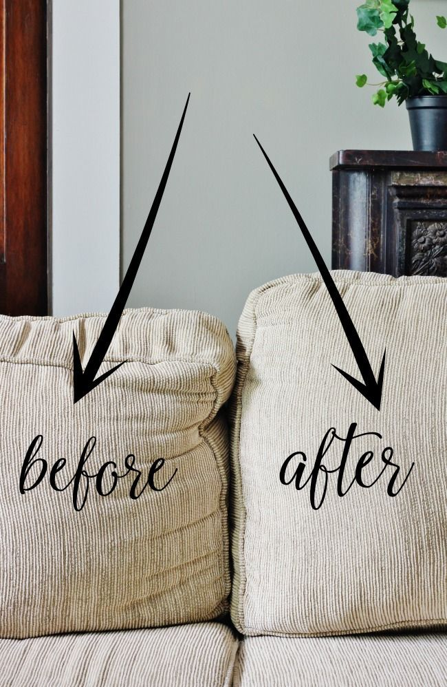 How to fix sagging couch cushions | Thistlewood Farms | before and after.