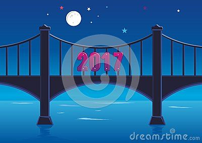 2017 Happy New Year bridge with 2017 font at night with blue color, moon and star