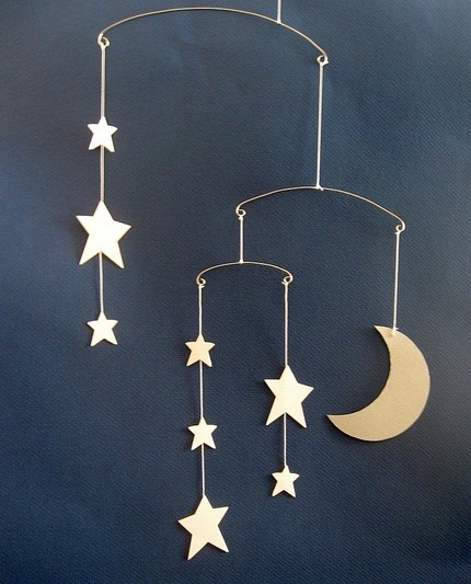 Silver moon and ivory stars paper mobile by Rooks Paper Scissors $20